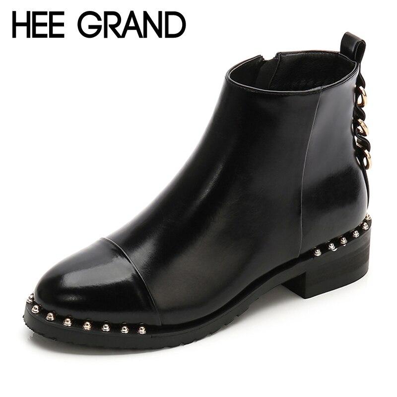 HEE GRAND de la Pu de cuero de las mujeres de invierno tobillo botas Casual zapatos de mujer zapatos de gladiador de punta redonda de las mujeres zapatos de plataforma zapatos XWX7128
