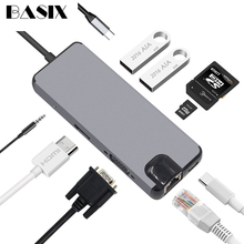 Basix USB C HUB Tipo C HUB USB 3.0 Thunderbolt 3 HDMI Audio da 3.5mm RJ45 Adattatore per MacBook Pro samsung Galaxy S9 USB C HUB