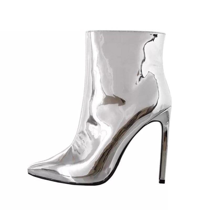 Femme Plus silver Haute Bottes Talons La 2019 Plush Taille Plush Miroir Hiver Mouillé Pu Mince Bout Baiser Pointu Short Chaussures Bottines 45 Gold Femmes MqUVpGzS