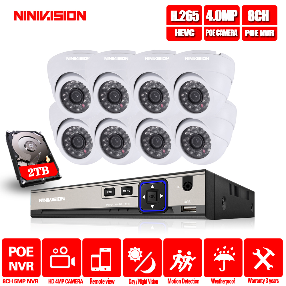 NINIVISION 8CH 5MP POE NVR CCTV System 4 0MP Indoor Outdoor Dome PoE IP Camera IR