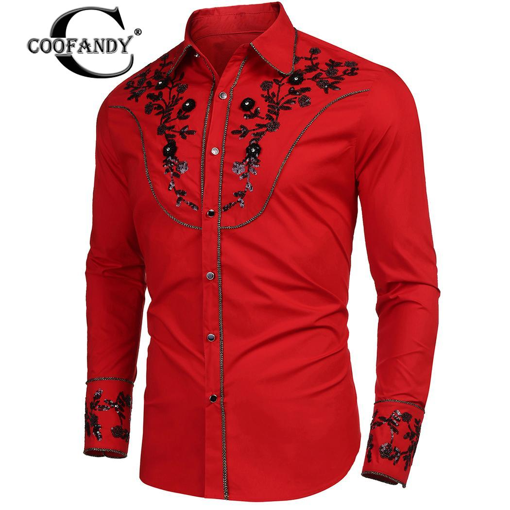 Western Fashion Formal Casual Floral Sequin Embroidery Men Shirt