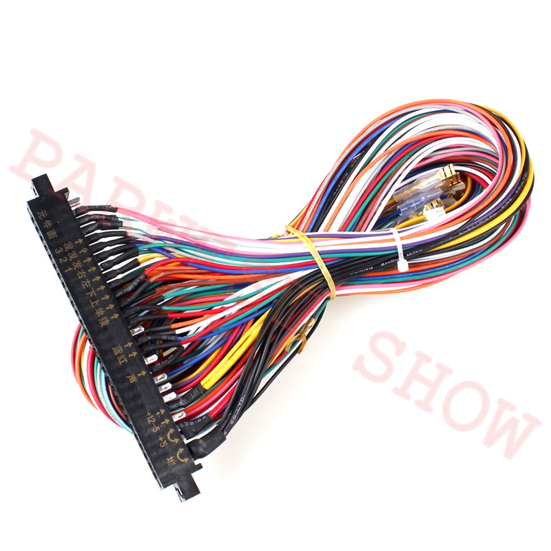 28pin Jamma Harness With 5 ,6 Action Button Wires Arcade Game Jamma Buttons Wires For Sanwa Joystick Arcade Game Machine Cabinet