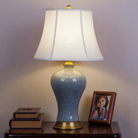Modern Chinese Style European Style All Ceramic Ceramic Retro Table Lamp Bedroom Bed Living Room High
