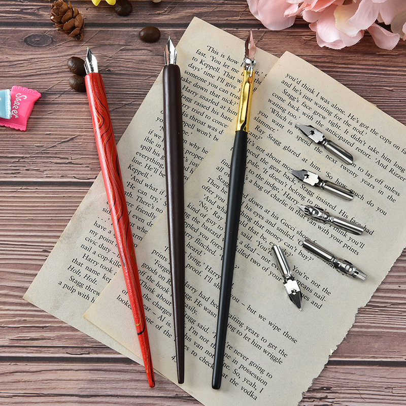 HOT 1pcs Dip Pen With 5pcs Nib Script Copperplate Latin English Calligraphy Dip Pen Nib Antique Gift To Friends