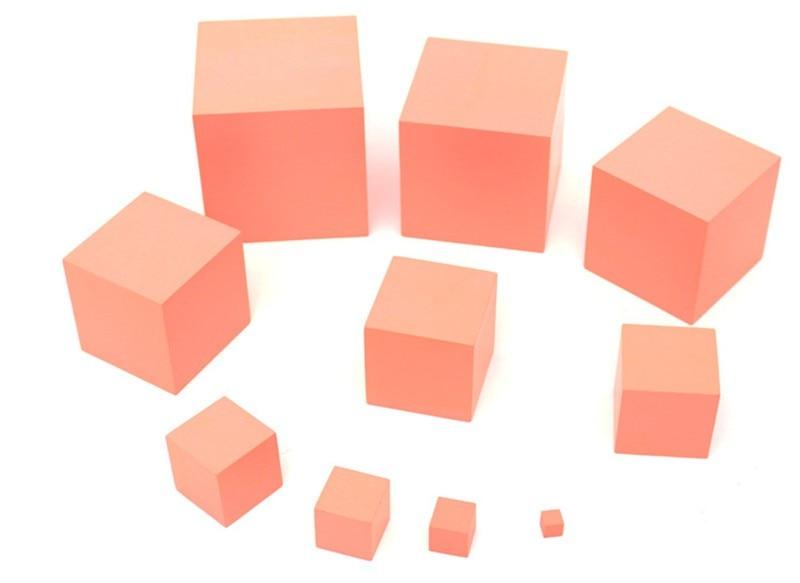 Új fából készült baba játék Mini Montessori korai tanulási segédeszközök rózsaszín torony Képzési játékok Tanulás és oktatás Ingyenes szállítás