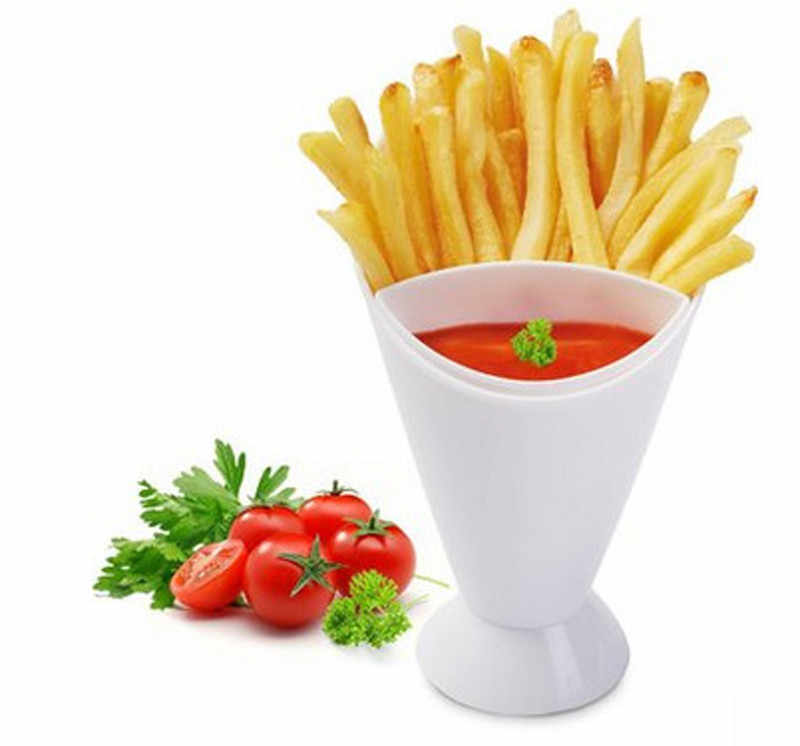 New Home Kitchen Potato Tool Tableware 2 in 1 French Fry Cone with Dipping Cup