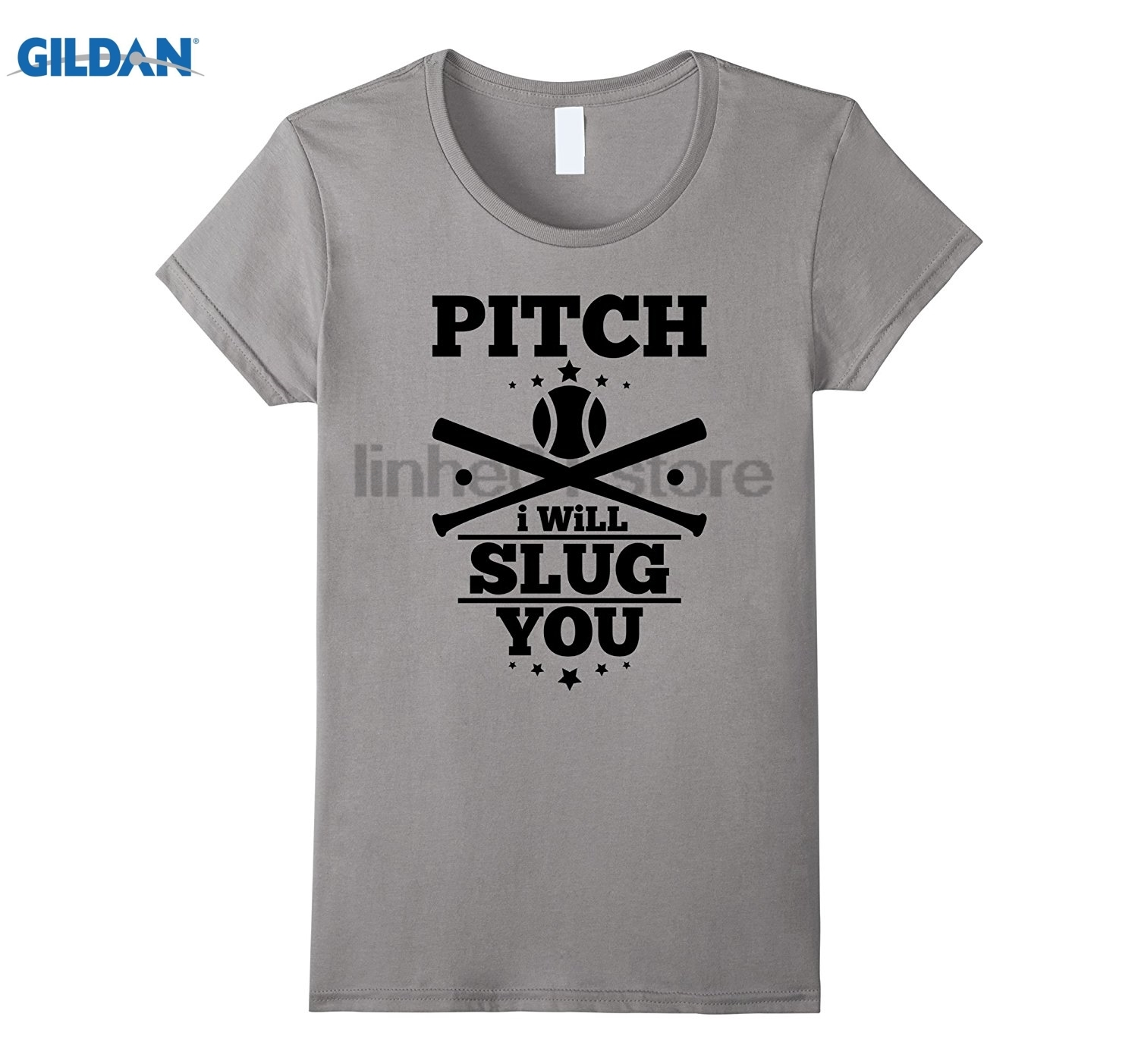 GILDAN Funny Softball Baseball Shirt Pitch I Will Slug You Bat Tee Womens T-shirt