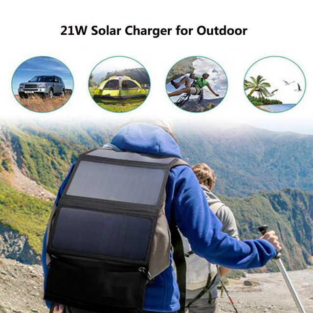 Xionel 21W Foldable Solar Charger Backpack Sunpower Solar Panel Charger with Dual USB Port for Mobile Phone Solar Battery