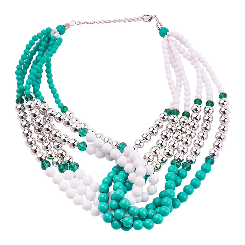 GuanLong Multi Layer Round Resin Beads Strand Wrap Necklaces For Women 2017 Winner Sweater Accessories Jewelry image