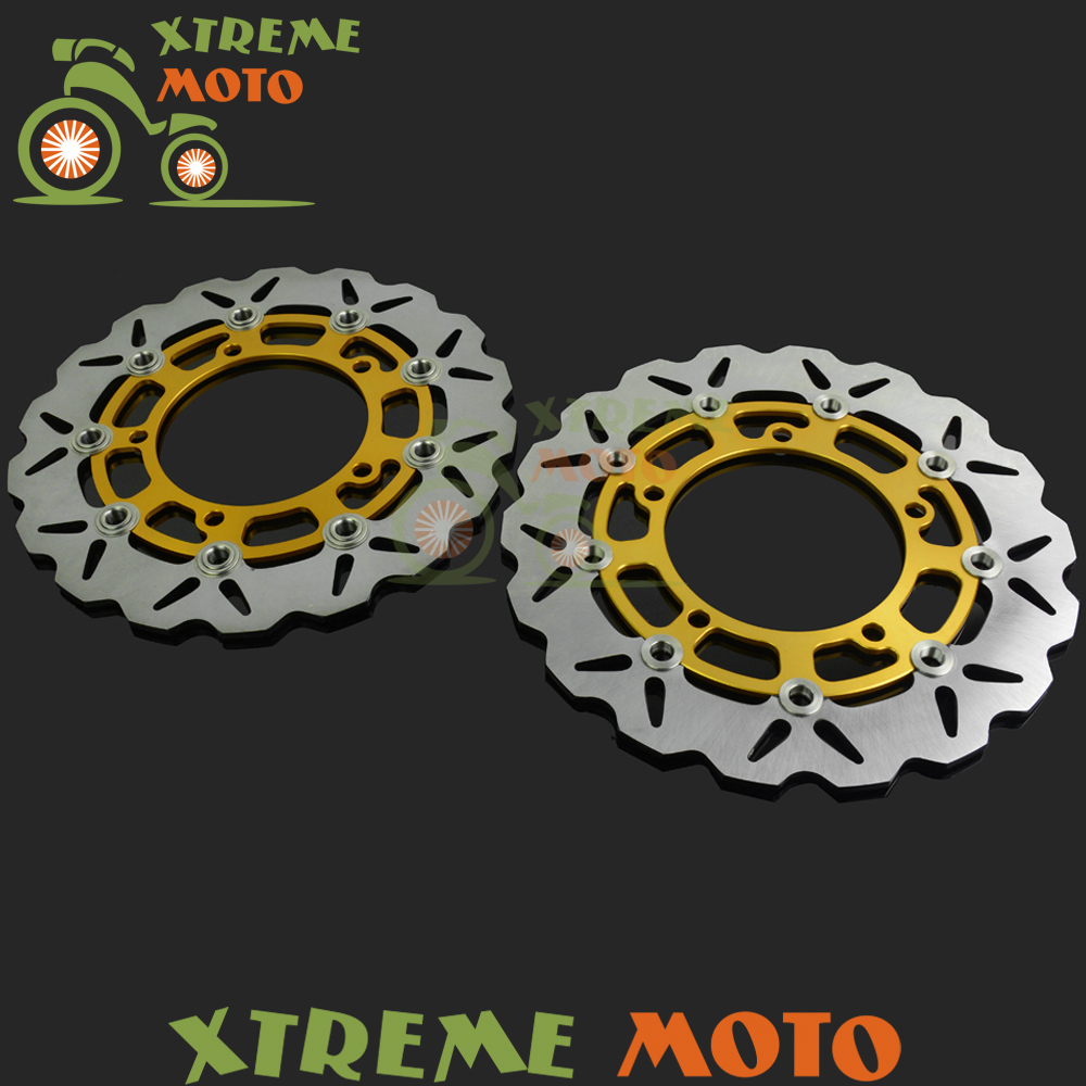 1 Pair Gold Motorcycle Front Floating Brake Disc Rotor For SV650S ABS 2007-2012 08 09 10 11 12 Dirt Bike Motocross free shipping dirt motorcycle front disc brake rotor for kawasaki kl250 super sherpa 1997 2007