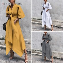 Plus Size Casual Dress Women Summer 2019 Yellow Maxi Beach Ladies Asymmetrical A Line Cotton Long For 3XL 5XL