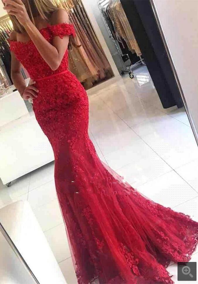 Robe De Soiree merineitsi punane õhtukleit aplikatsioonidega - Eriürituste kleidid - Foto 3