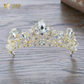 Gorgeous crystal tiara gold plated crown jewelry hair ornaments retro Baroque hairband wedding photography accessories qf064