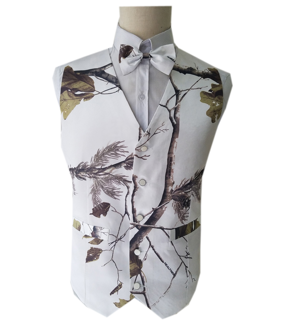 Supply Realtree White Camo Prom Vest Man Camouflage Vests For Wedding Plus Size Custom Make Free Shipping