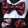 Bzp09r vermelho cinza Paisley homens de seda auto Bow Tie lenço abotoaduras set