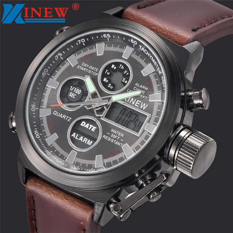 New XINEW watch erkek kol saati Mens Quartz Sport Military Army LED Watches Analog Stainless Steel