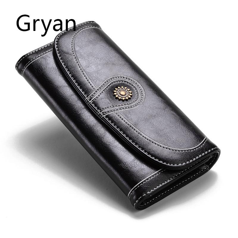Gryan Purse lady long three-fold mobile phone bag retro oil wax leather wallet anti-theft anti-radio frequency RFID NFC 205