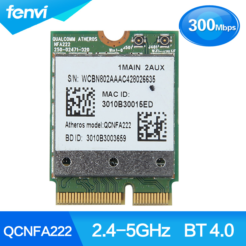 Wireless Atheros QCNFA222 AR5BWB222 Dual Band 300Mbps 2.4GHz/5GHz 802.11a/b/g/n Wifi + Bluetooth BT 4.0 NGFF Wlan Card