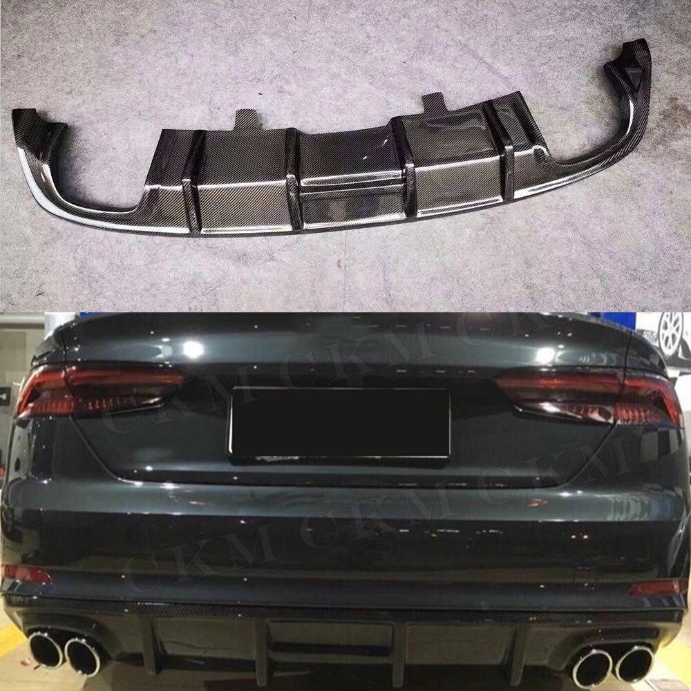 Углеродного волокна/FRP Неокрашенный заднего бампера спойлер диффузор для Audi A5 S5 седан 4 двери не A5 Стандартный 2017 2018 стайлинга автомобилей