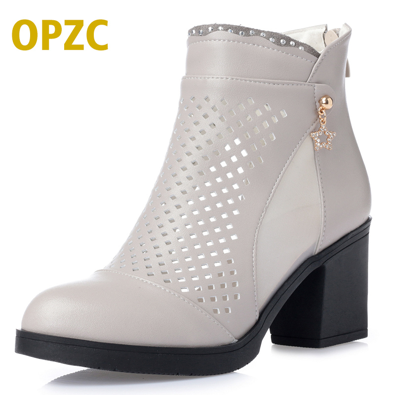 Women Summer ankle Boots breathable Leather short Boots for women peep toe black sandals comfortable hollow out women shoes blue jeans bota feminina 2017 summer shoes ankle boots for women cowboy denim high heels sexy peep toe tear hollow out sandals