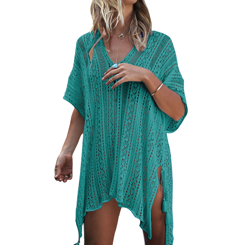 Women Ladies Pure Color Short Sleeve Swimwear Beach Bikini Swimsuit Bathing Suit Crochet Cover Up Dress