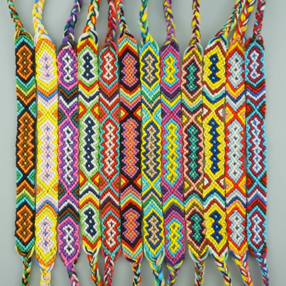 AMIU 12 stücke Böhmische Webart Baumwolle Freundschaftsarmband Brasilianische Gewebte Seil String Handgemachte Armbänder Verpackung Sets Für Frauen Männer