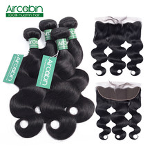 Human Hair Bundles With Closure 4 Bundles Brazilian Body Wave with Frontal Closure Non Remy Brazilian Hair AirCabin Hair(China)
