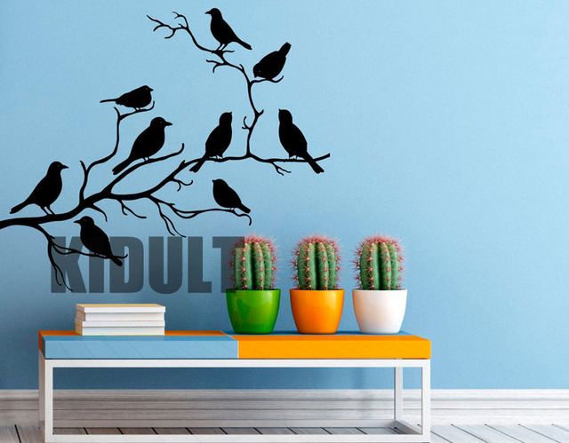 Birds Wall Sticker Tree Wall Decals Creative Home Flat Vinyl Wall Art  Interior Decoration Painting Bedroom