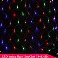 2MX 2M 144 LED Net Mesh Fairy String Light For Party Wedding Xmas Tree-wrap Warm White White Blue Changeable