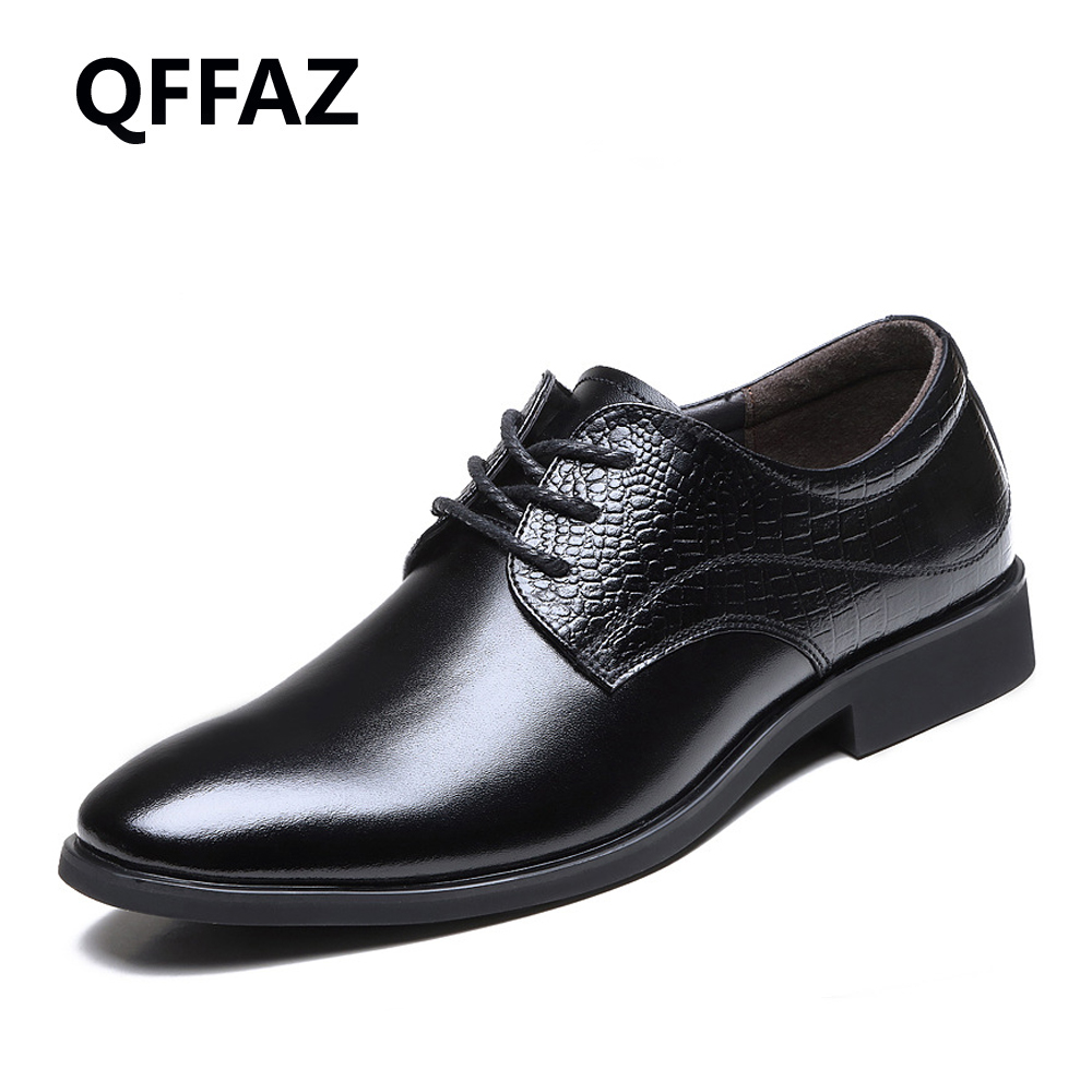 QFFAZ New Men Dress Casual Shoes Flats Business Oxford Shoes Black Brown Men Oxfords Formal Shoes Wedding Men Shoes good quality men genuine leather shoes lace up men s oxfords flats wedding black brown formal shoes