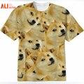 Alisister harajuku mujeres/hombres divertidos head dux 3d de manga corta t-shirt dios deus perro/shiba inu de impresión 3d tes de las tapas más el tamaño
