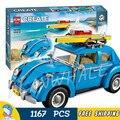 1167 pcs kit criador 10566 especialista móvel carro beetle modelo 3d conjunto de blocos de construção tijolos brinquedos compatíveis com lego