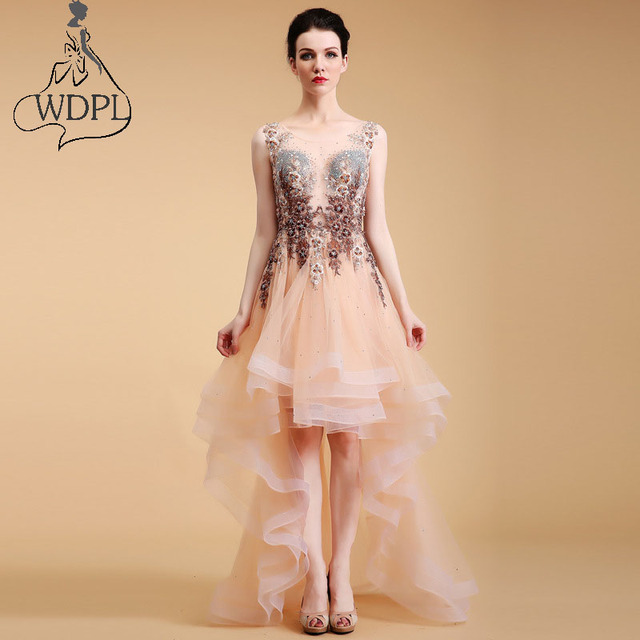 2017 New High Low Prom Dresses Awesome Embroidery Pearls Beaded