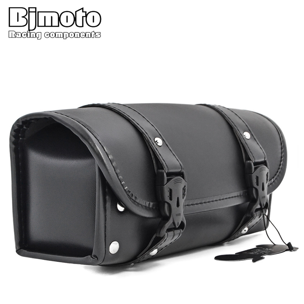 BJMOTO Motorcycle Saddlebag Saddle Side PU Leather Tool Bag For Honda Yamaha Suzuki Harley Sportster XL 1200 883 Street Cruisers недорго, оригинальная цена