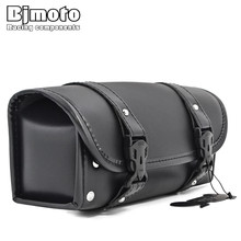 BJMOTO Motorcycle Saddlebag Saddle Side PU Leather Tool Bag For Honda Yamaha Suzuki Harley Sportster XL 1200 883 Street Cruisers