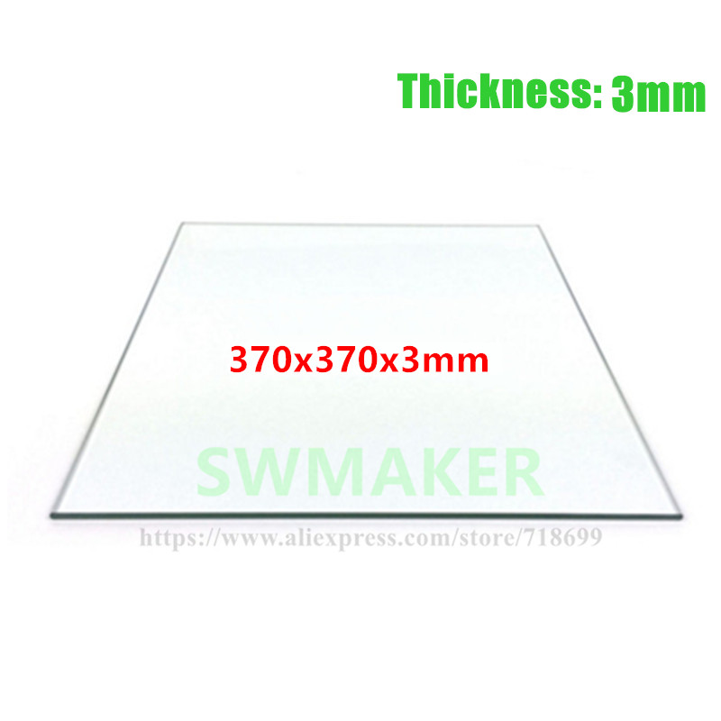 SWMAKER Borosilicate glass heating bed 370*370*3mm printing glass plate high quality freeshipping