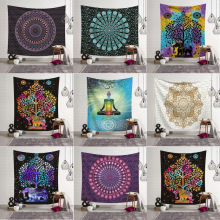 Гобелен настенный полиэстер Индийский Мандала узор одеяло, домашнее украшение Йога многофункциональный коврик маленький 95x73cm