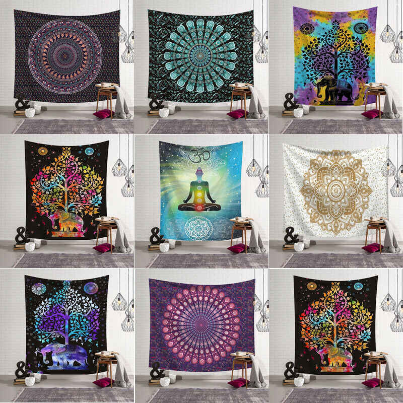 Tapestry Wall Hanging Polyester Indian Mandala Pattern Blanket Home Decoration Yoga Multifunction Mat Small 95x73cm