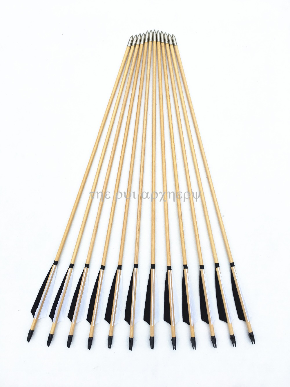 6/12/24pcs Wooden Arrows Traditional Target Arrow Turkey Eagle Feathers Fletched With Field Points Tips For Hunting Archery