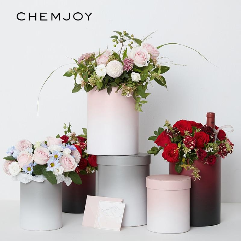 Set Of 2 Gradient Color Flower Box With Lid Hug Bucket