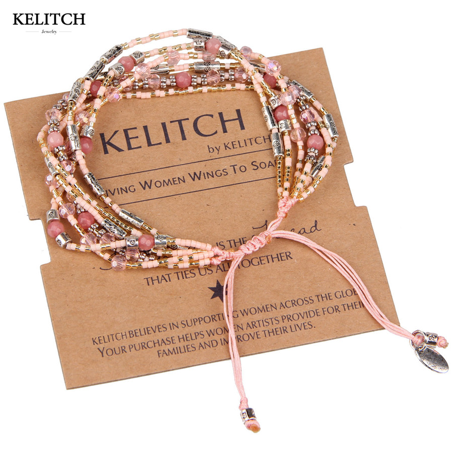 KELITCH Jewelry Multicolor Woven Seed Bead Pink Coral Crystal Bohemian Special Adjustable Handmade Strand Bracelets Wholesale
