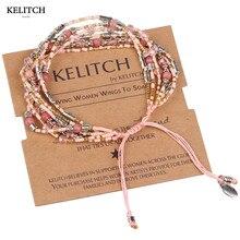 Kelitch ювелирные изделия многоцветный сплетенные из бисера и розовый Коралл Хрустальный богемный специальный Регулируемый ручной Плетёные браслеты оптовая продажа