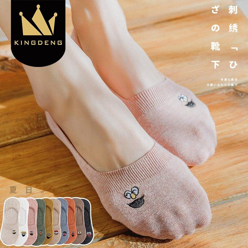 KingDeng No Show Harajuku Korean Style Women Sock Woman Cute  Moomin Boat Fashion Design Hot Pink Cotton Simple Socks Summer 1