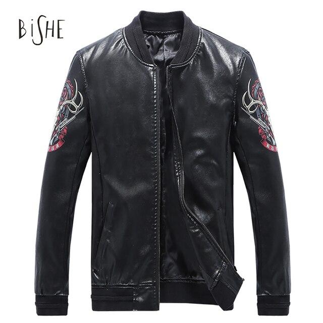 2017 New Autumn Leather Jacket Men Jaqueta Couro Masculino Bomber Leather Jacket Coat Motorcycle Casaco Masculino Plus Size 5XL