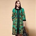 Traje nacional chinês puls szie mulheres trench coat 2016 outono inverno do vintage high-end senhoras elegantes quente casaco feminino XXL