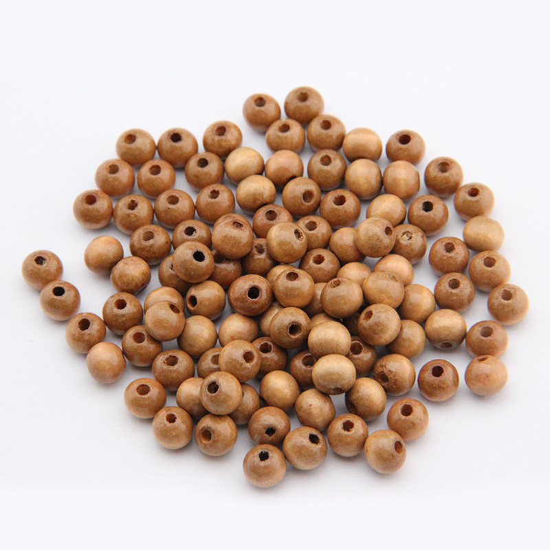 100pcs/lot Wholesale Brown Color Round Wooden Beads Lead-free 6mm 8mm Houten Kralen Spacer Charm Beads for DIY Wood Jewelry