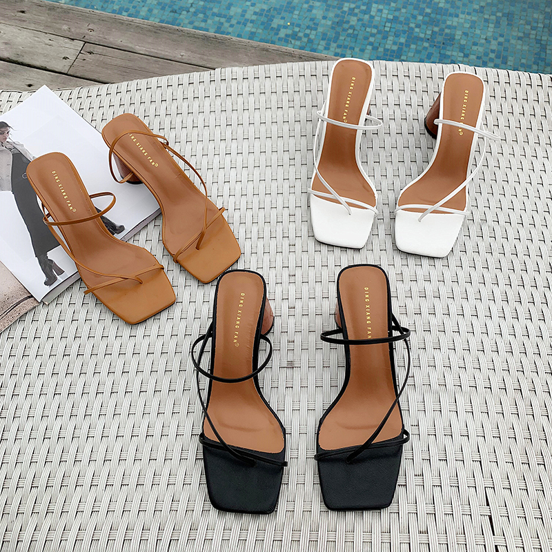 MONMOIRA Sandals Women Slipper Heel Summer Shoes Square Toe Vintage Narrow-Band SWC0713