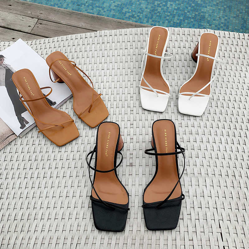 MONMOIRA Wood Heel Slipper Women's Sandals Vintage Square Toe Narrow Band High Heel Sandals Women Summer Shoes Women SWC0713