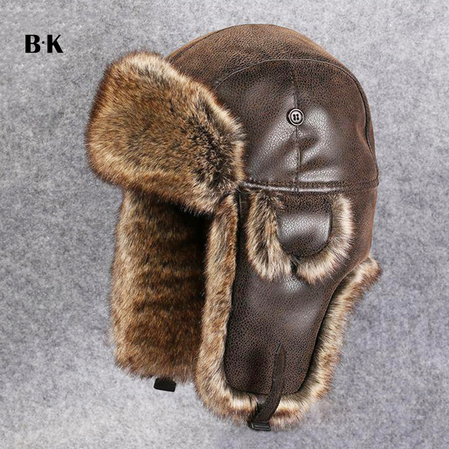 Men Russhian Ushanka Vintage Bomber Hats Faux Rabbit Fur PU Leather Winter  Hats Pilot Plush Aviator Earflap Women Snow Cap 6690827c2179