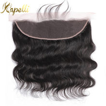 Koronka Frontal zamknięcie z Baby włosów ludzkich uzupełnienie splotu włosów Lace Closure Remy brazylijski włosy typu body wave tkania ucha do ucha 13x4 koronki Frontal(China)